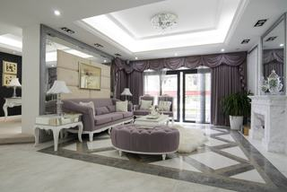 奢华典雅香芋紫简欧客厅大全效果图