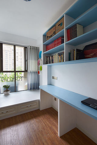 蓝色现代地中海风格书房设计装修图