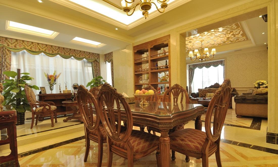 古典大气欧式风格别墅餐厅软装装饰效果图