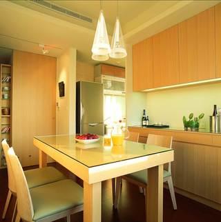 优雅现代简约风格餐厨房一体设计效果图