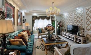 古典豪华欧式风格三居客厅软装饰搭配效果图