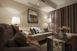 素雅简洁美式设计风格客厅软装装饰效果图
