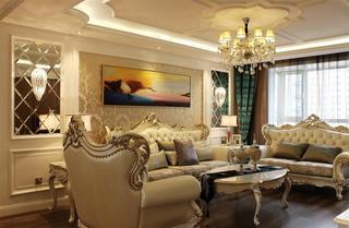 精美新古典欧式混搭客厅背景墙装修欣赏