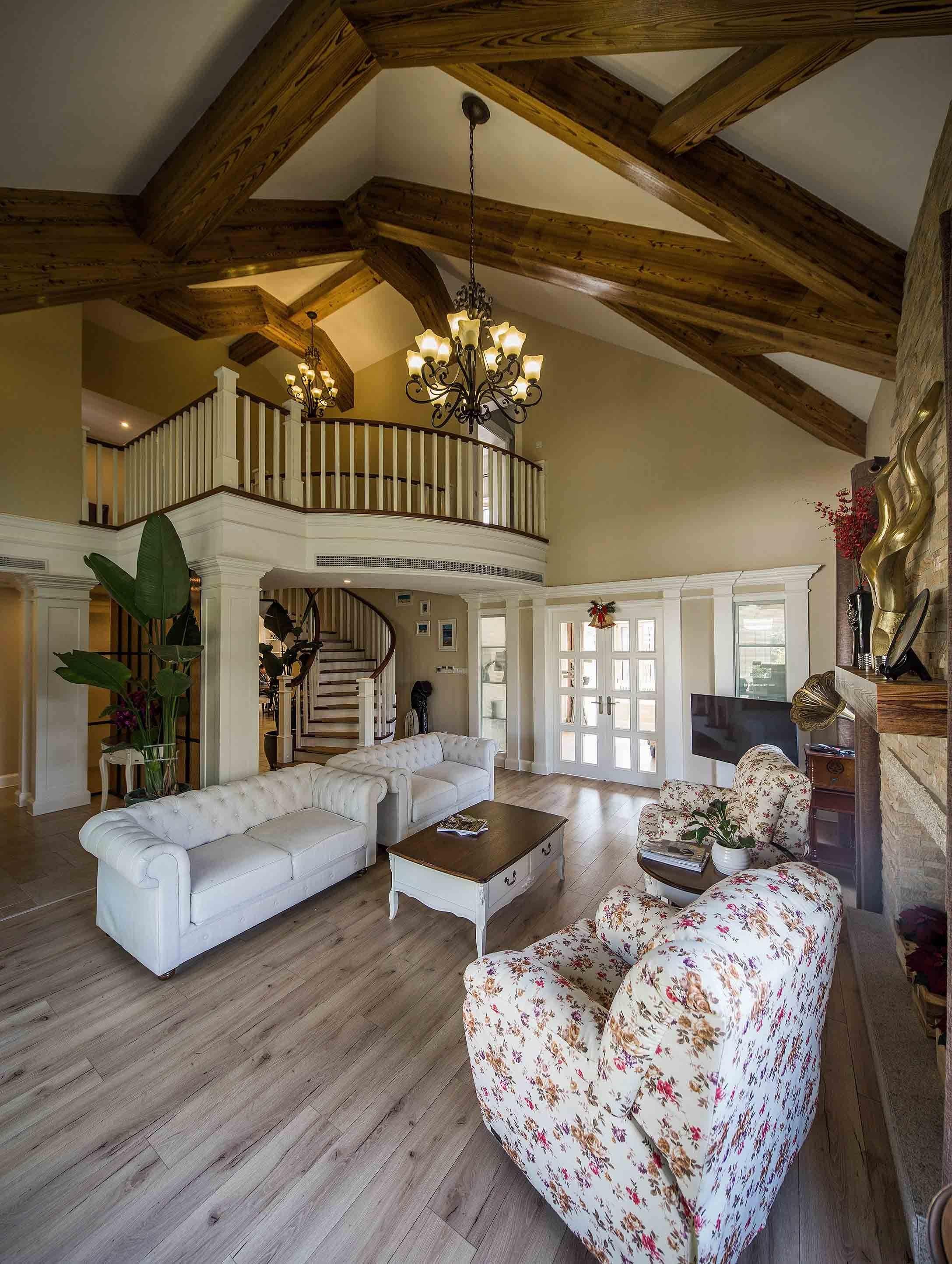 自由舒适美式乡村风格别墅室内隔断设计图