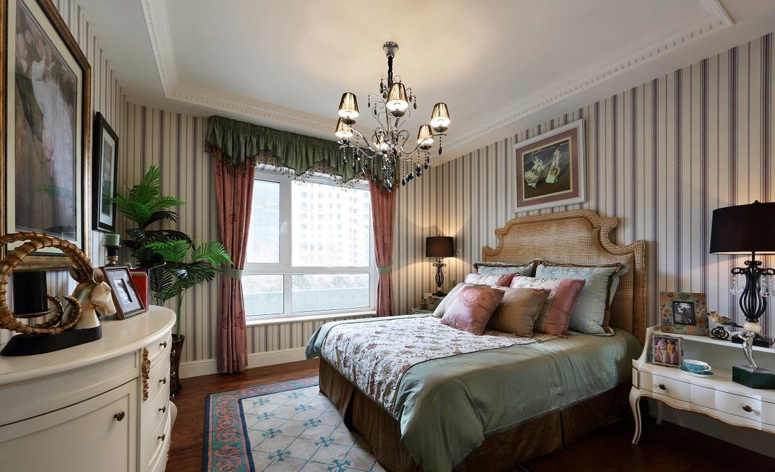 优雅欧式风格卧室铁艺吊灯装饰效果图