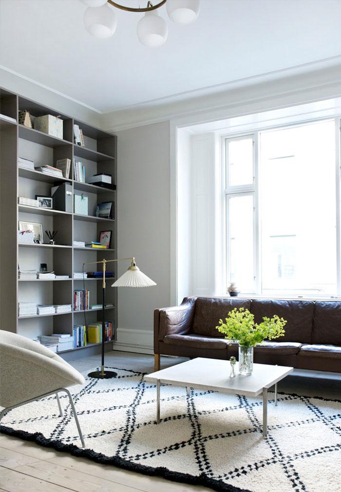 朴素清新北欧风格二居室客厅置物架设计装修图