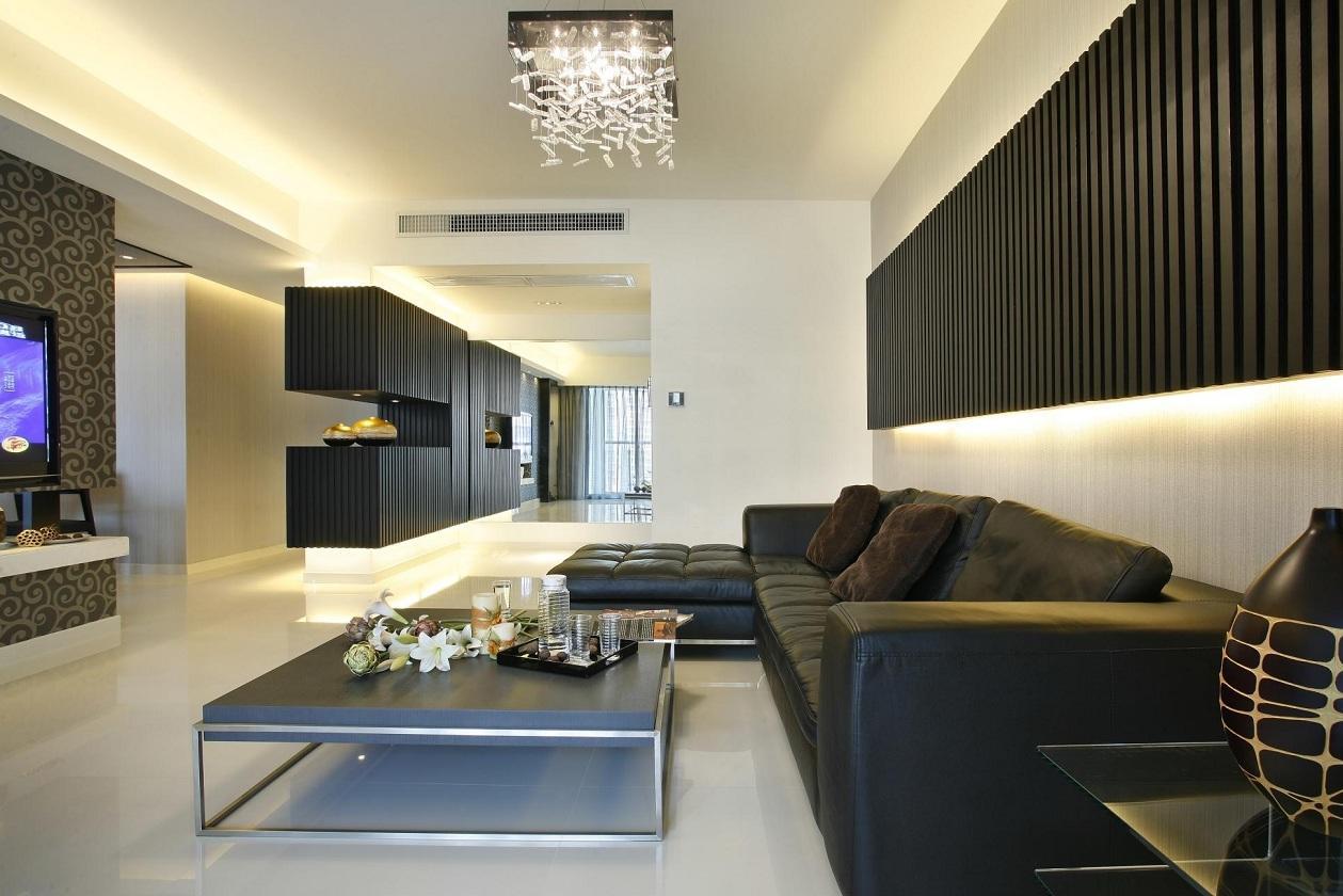 现代简约风格沙发黑色背景墙效果图
