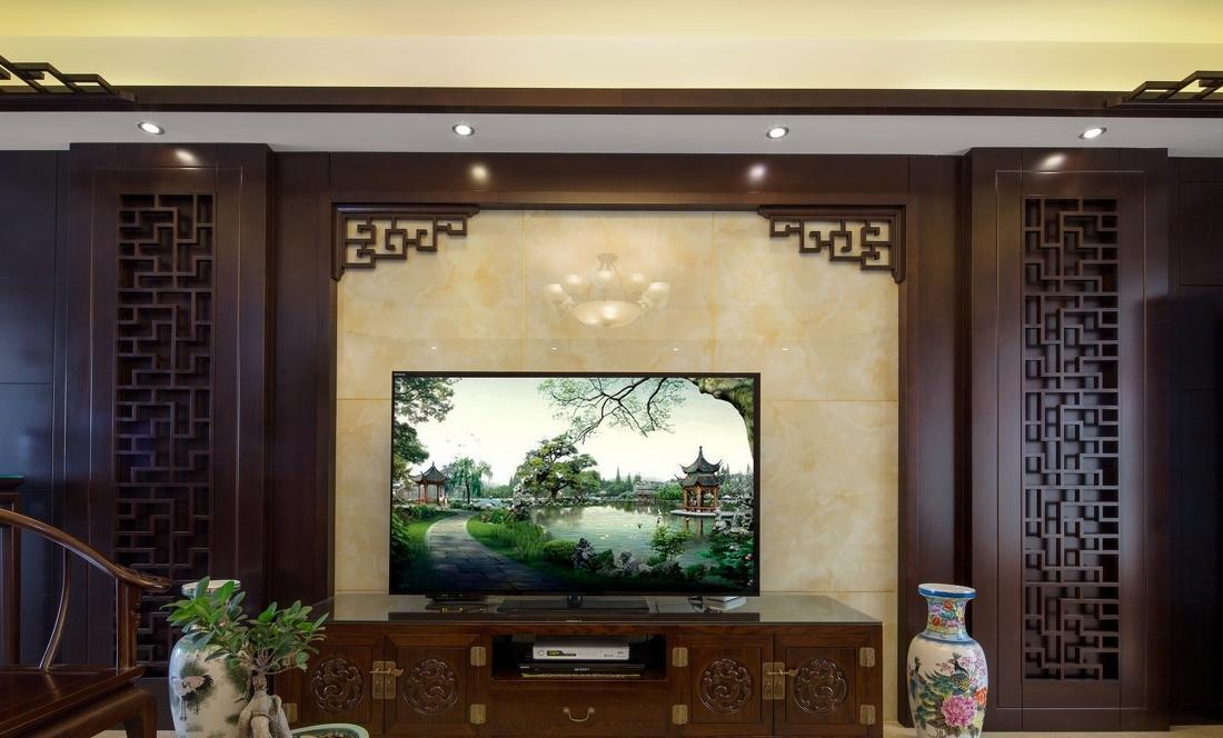 典雅中式装修风格实木背景墙设计图片