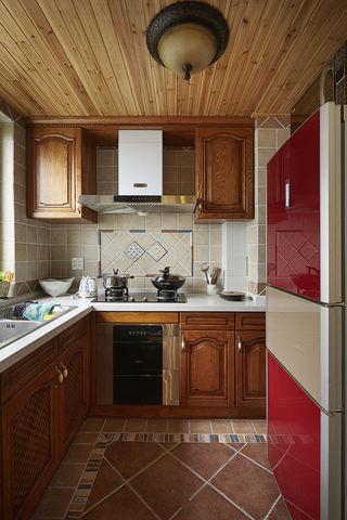 休闲美式地中海风厨房实木吊顶装修图片