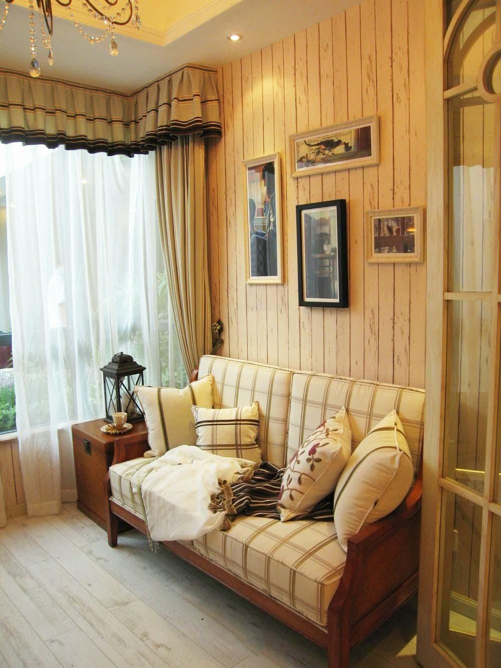 休闲复古田园风设计客厅沙发背景墙效果图