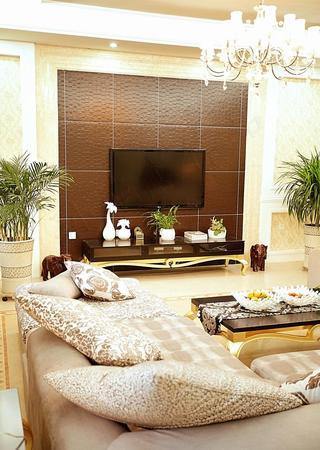 时尚简约现代客厅皮质背景墙效果图