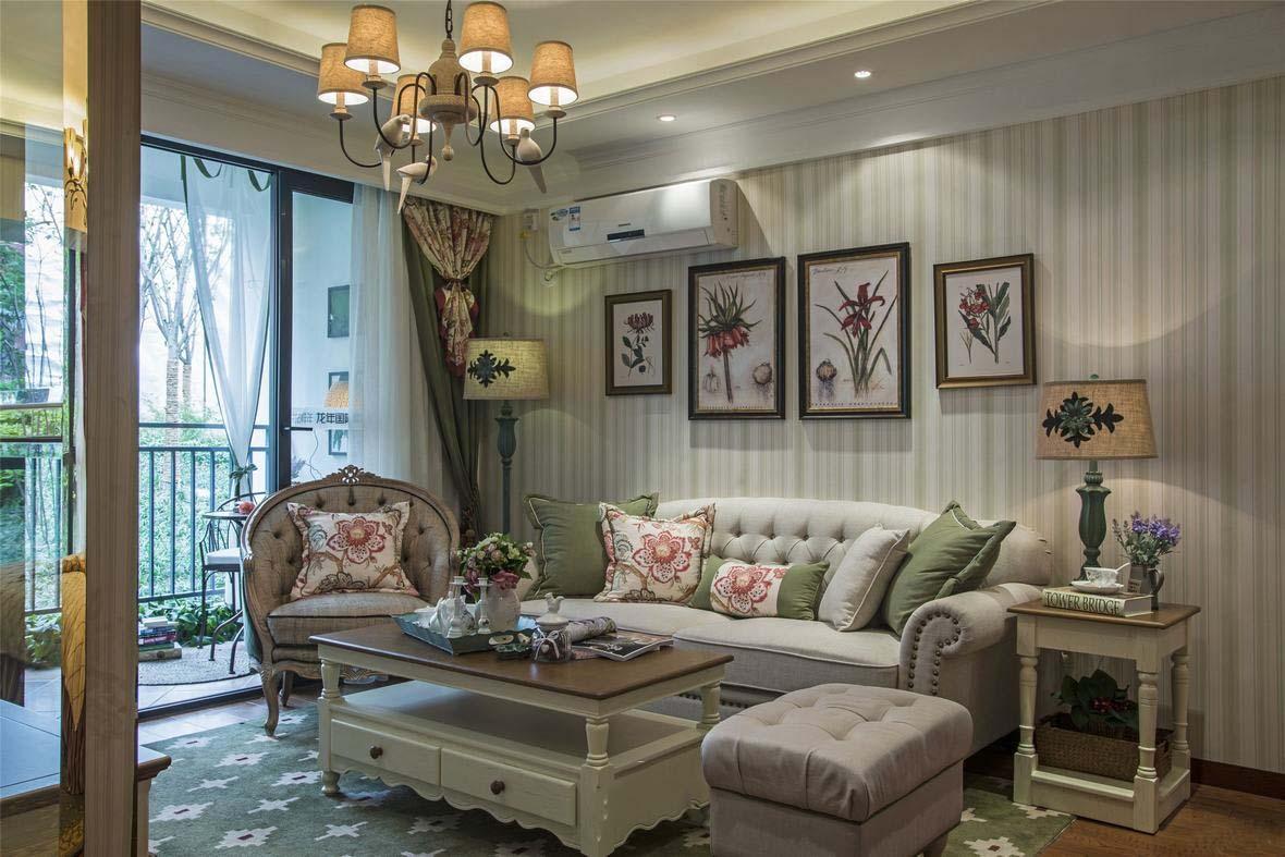 文雅和谐新古典三居室客厅阳台设计效果图