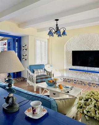 108平清新蓝色复古地中海风格三居室装修效果图