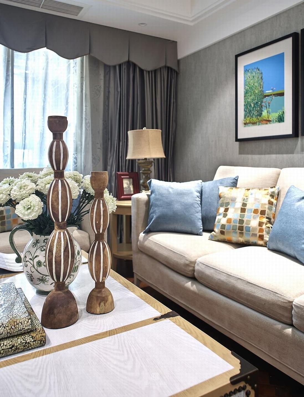 唯美美式新古典风格客厅沙发效果图
