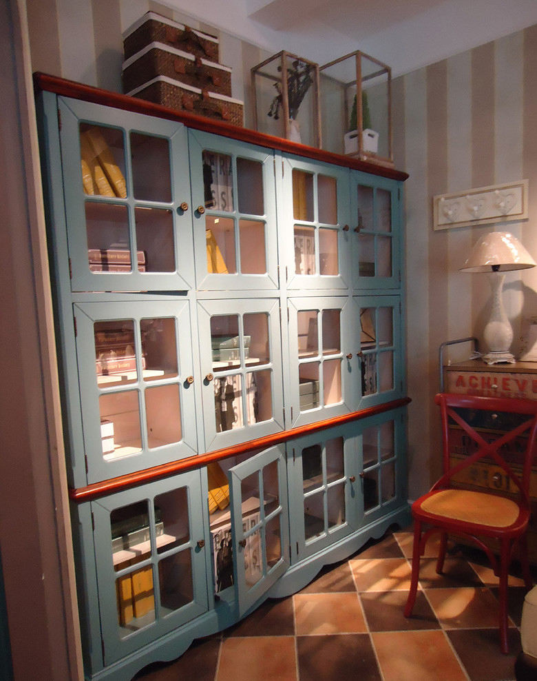 怀旧美式乡村风格书房书柜装饰效果图