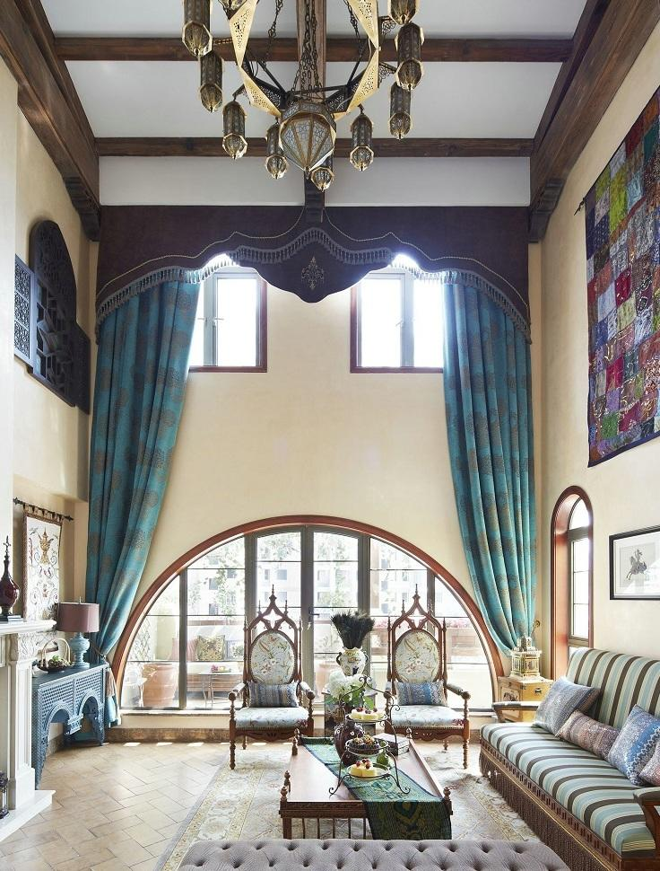 复古欧式田园风格别墅客厅窗帘设计
