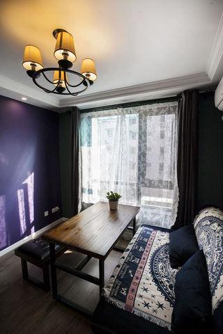 紫色美式新古典客厅背景墙效果图