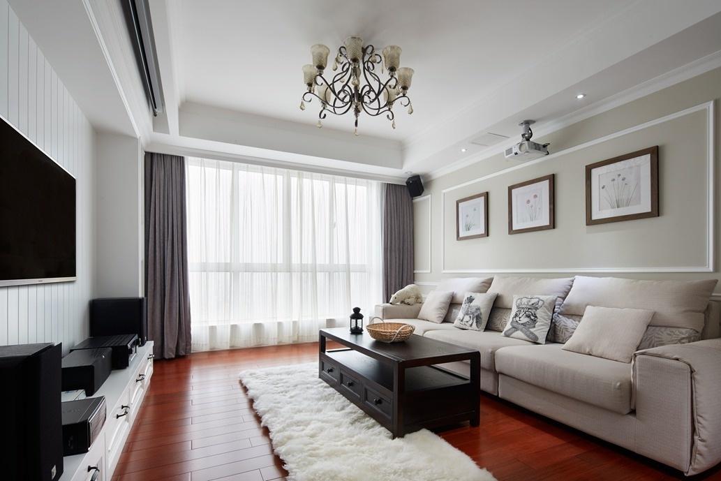 黑白简约美式混搭客厅装潢欣赏