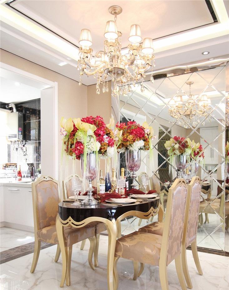 精美华丽欧式风格餐厅艺术玻璃背景墙隔断效果图