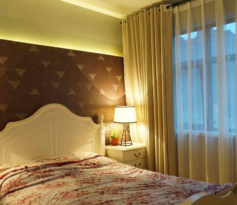 温馨时尚北欧风格卧室窗帘装饰效果图