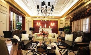 豪华摩登复古欧式客厅整体装修效果图