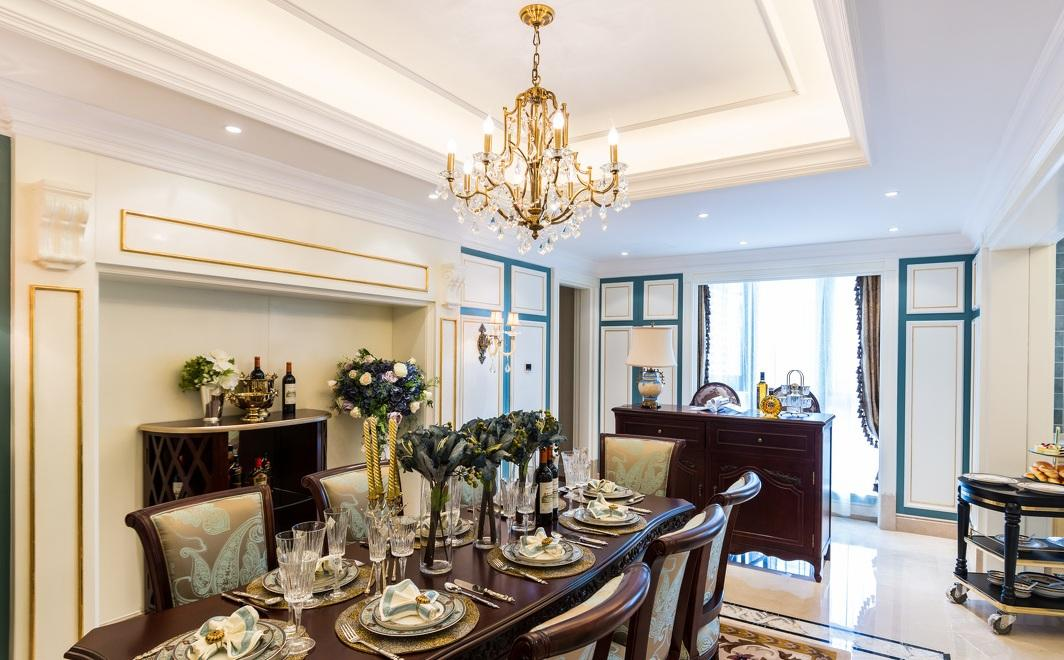 法式田园餐厅水晶吊灯装饰案例欣赏图