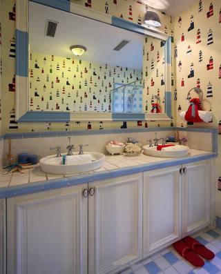 清新地中海风格别墅卫生间壁纸装饰效果图