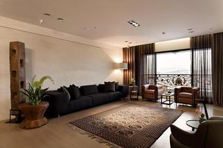 咖色复古现代风混搭客厅装饰大全