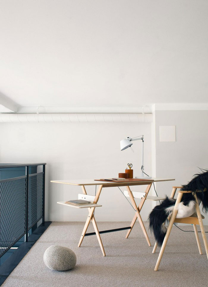 时尚简约艺术北欧风格复式书房简易书桌设计图