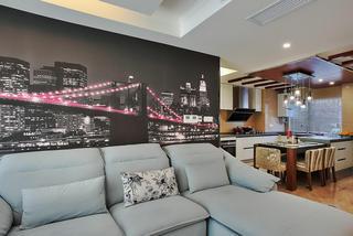 时尚现代客厅沙发夜景背景墙效果图