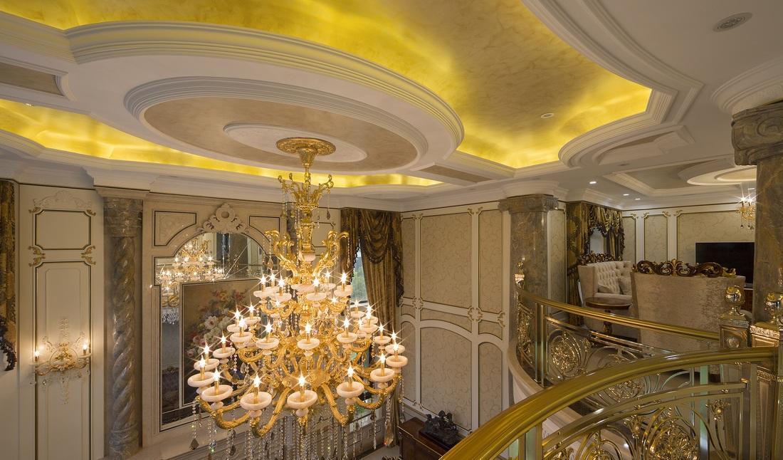 闪亮豪华鎏金古典欧式别墅水晶灯装饰效果图