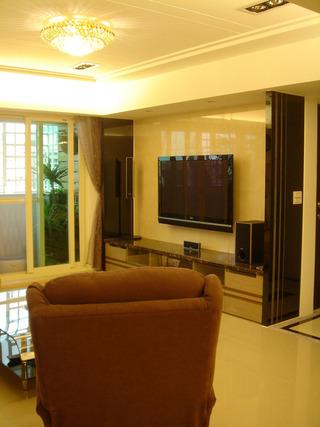 浅黄色现代中式装饰风格二居装修样板间