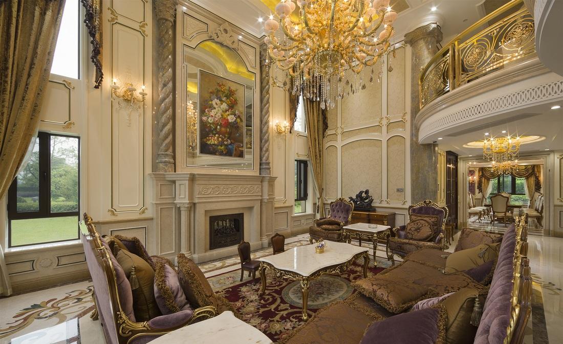 百万元打造豪华鎏金古典欧式风格别墅室内装修图