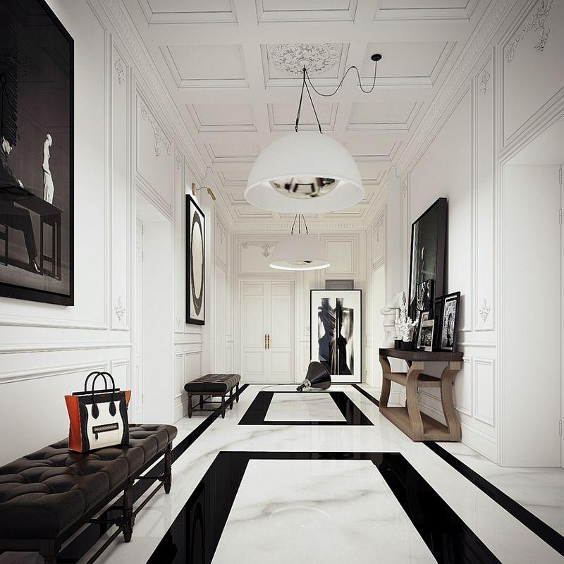 黑白豪华新古典风格别墅玄关装修设计图
