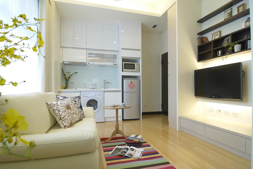 时尚现代简约装修小公寓电视背景墙隔断欣赏