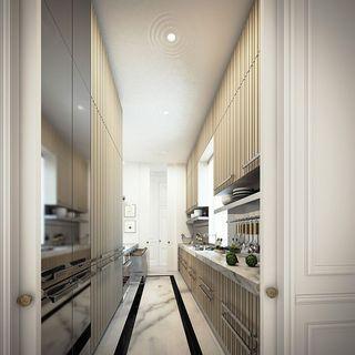 精致豪华新古典别墅厨房过道效果图