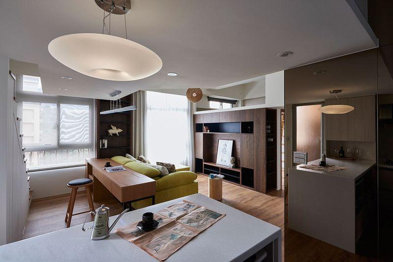 朴实简约现代风格复式室内石膏吊顶效果图