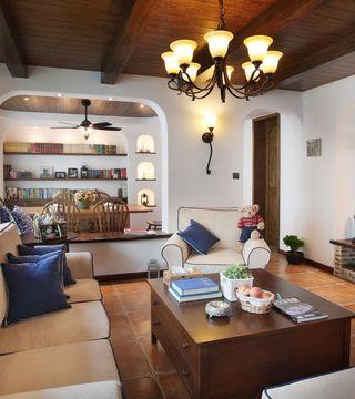 休闲复古美式客厅隔断效果图片