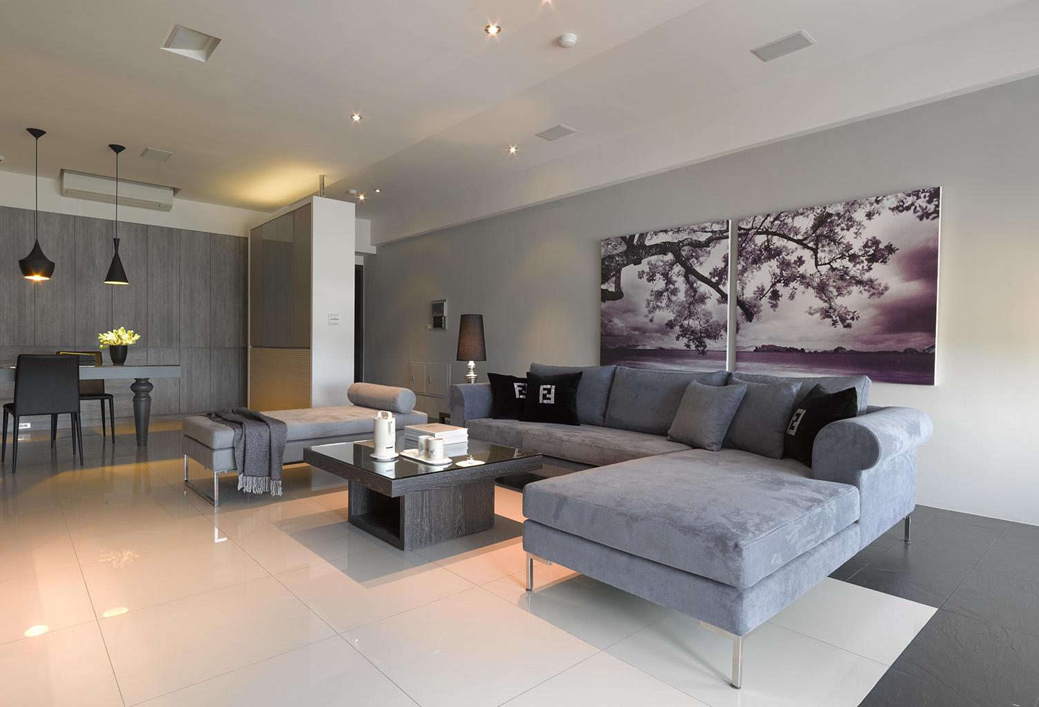 简洁雅致现代风格客厅挂画装饰效果图