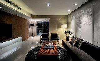 黑色摩登新中式风格三居设计装修图