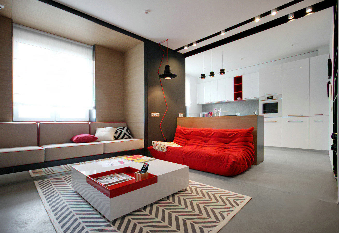 红白简约时尚风格室内设计图片