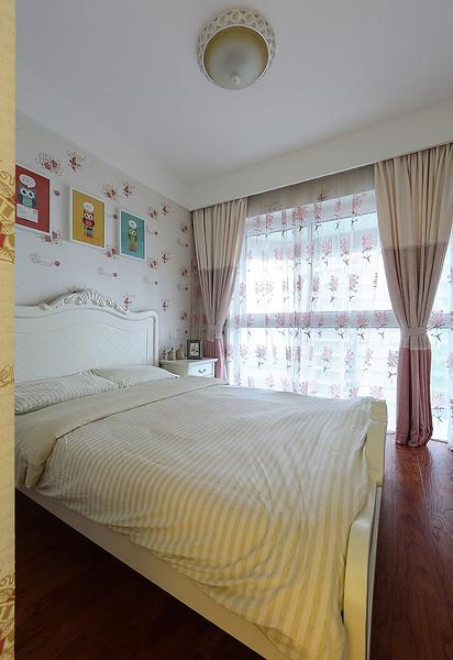 唯美浪漫简约美式卧室窗帘装饰效果图