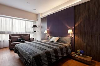 沉稳时尚现代装修风格卧室紫色背景墙设计