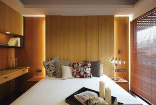素雅别致现代风格卧室原木背景墙效果图