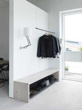 简洁北欧风格玄关鞋凳设计装修图