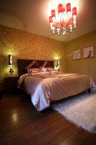 中式田园风卧室背景墙图例