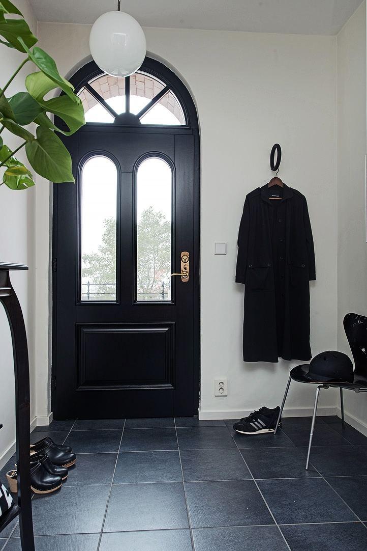 北欧风格黑色摩登玄关地砖装饰效果图