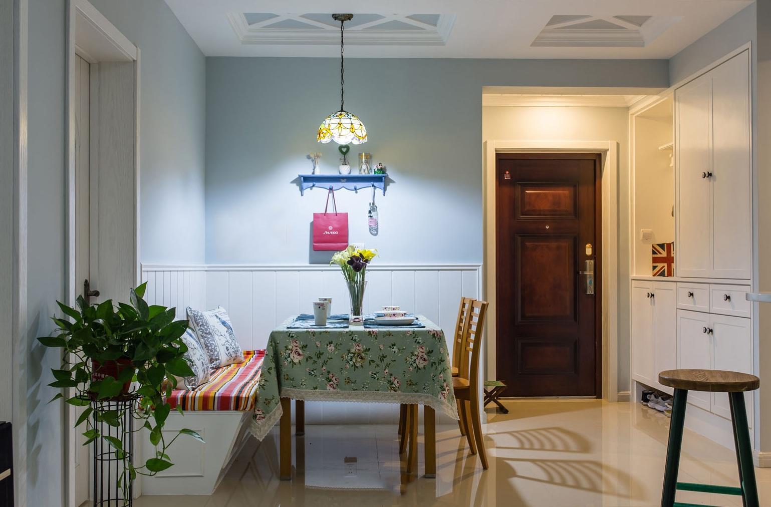 蓝色清新田园风格餐厅背景墙装潢效果图