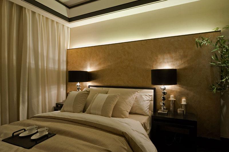 简约新中式卧室背景墙效果图