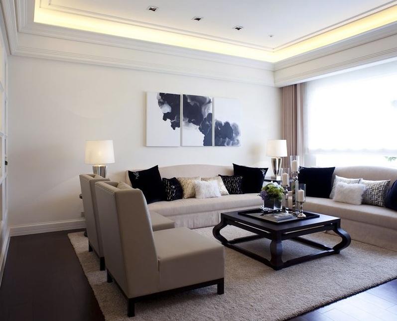 简洁纯净时尚现代公寓室内装潢效果图